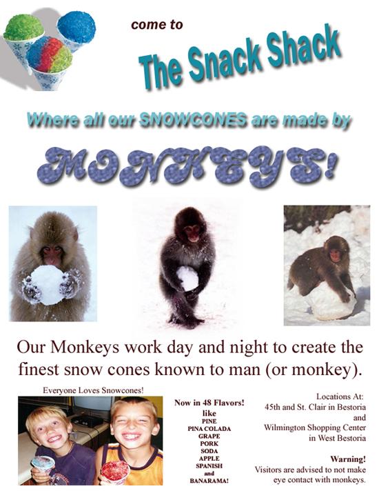 monkey snow cone